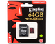 Карта памяти microSDHC Kingston Canvas React 64 GB (UHS-I, class 10, U3)
